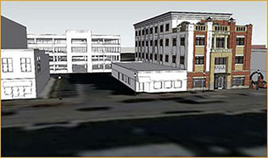 Another rendering illustrates a four-level parking garage as an alternate idea. Photo: For The Intelligencer