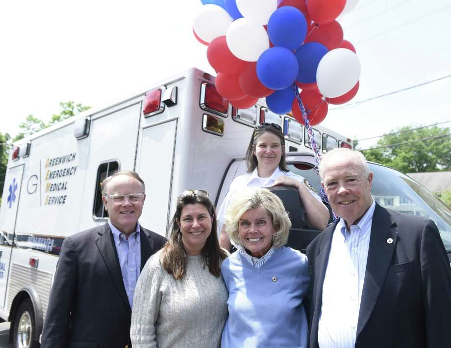 GEMS Executive Director Tracy Schietinger, back, GEMS Vice Chair Dan FitzPatrick, left, Cos Cobber owner Caren Vizzo, second from left, Event Chair Ann Hagmann, and GEMS board member and former Vice Chair Charles Kaufmann pose at the Greenwich Emergency Medical Service (GEMS) fundraiser at Caren's Cos Cobber last year. The event will be held again on Wednesday, May 22. Photo: Tyler Sizemore / Hearst Connecticut Media / Greenwich Time