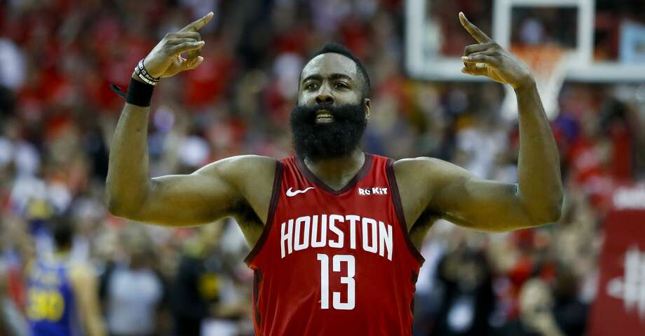 Houston Rockets guard James Harden (13) celebrates during overtime of Game 3 of a NBA Western Conference semifinal playoff game at Toyota Center, in Houston , Saturday, May 4, 2019. Photo: Karen Warren/Staff Photographer