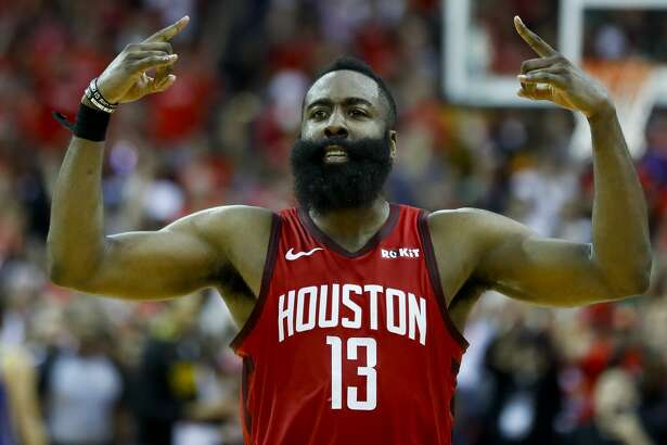 Houston Rockets guard James Harden (13) celebrates during overtime of Game 3 of a NBA Western Conference semifinal playoff game at Toyota Center, in Houston , Saturday, May 4, 2019.