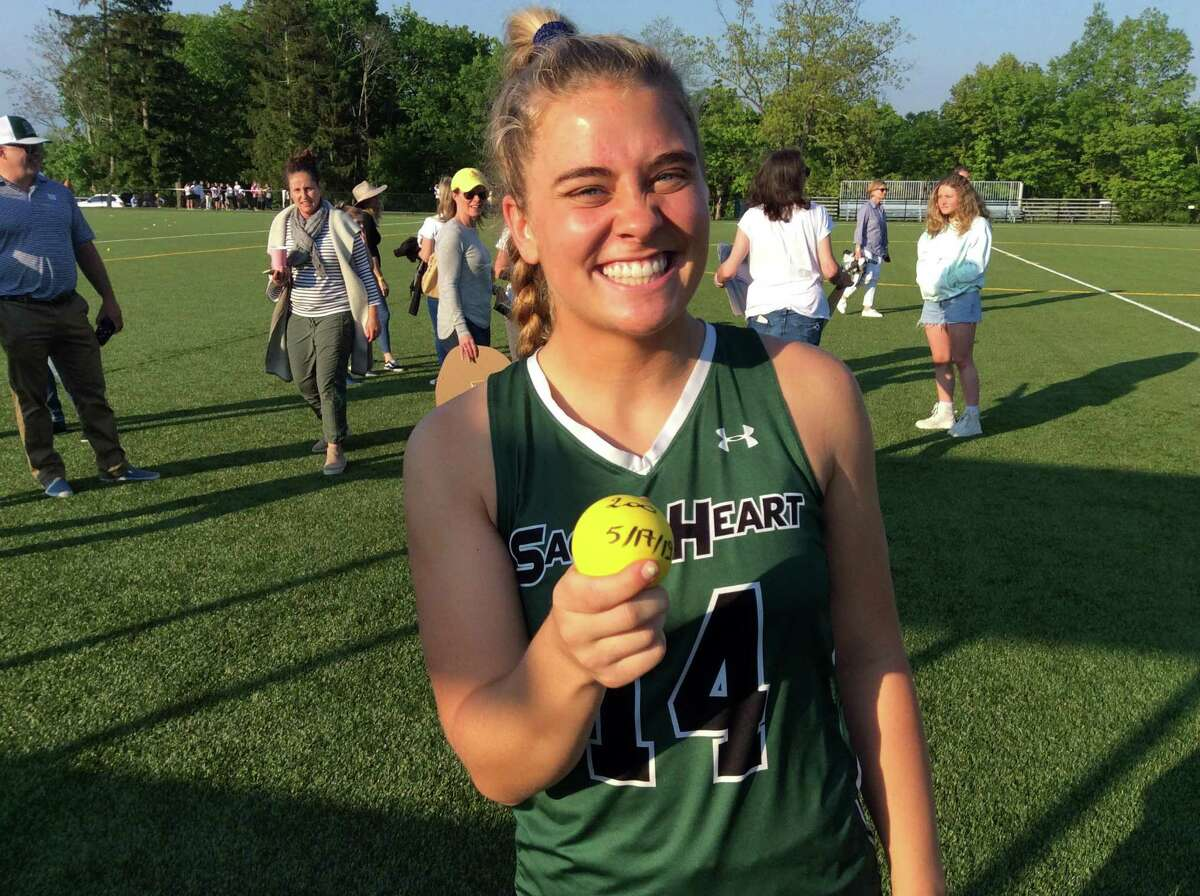 Sacred Heart Greenwich senior Ryan Smith scored her 200th career goal during the Tigers' 13-1 win over Greens Farms Academy in the championship game of the FAA Girls Lacrosse Tournament on Friday, May 17, 2019, in Greenwich.