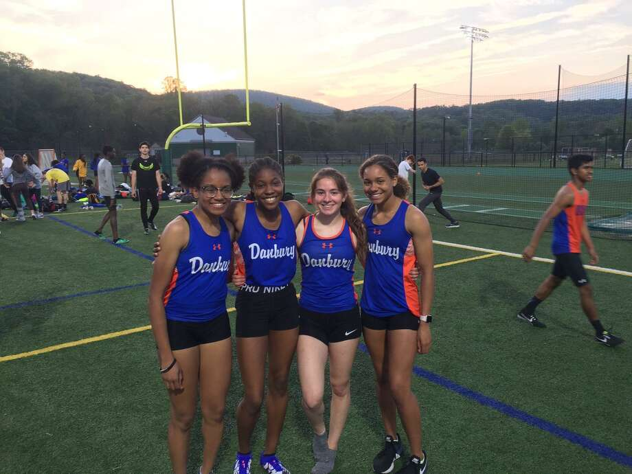 Danbury's quartet of Natalee Seipio, Meilee Kry, Jessica Glowacki and Alanna Smith qualified for nationals with a 1:43.56 time in the 4x200 meter relay Friday at the Danbury Dream Invitational. Photo: Contributed Photo