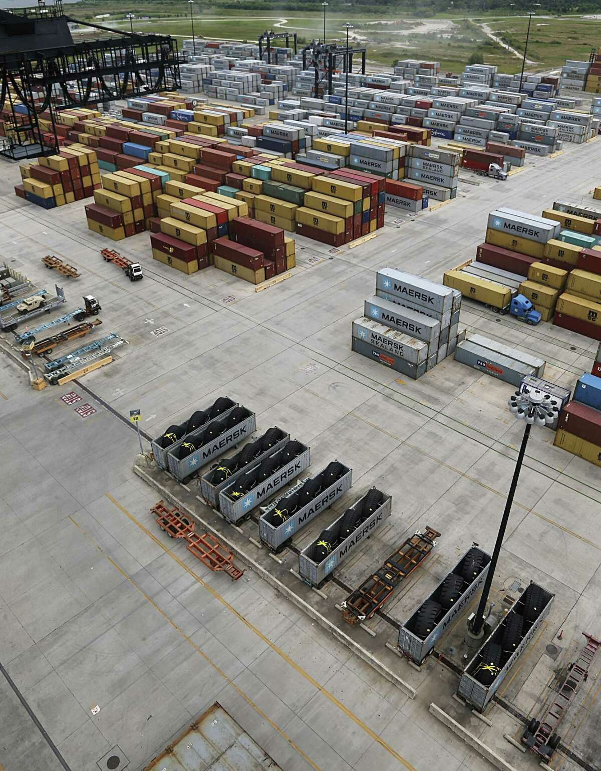 Containers and other cargo at the Port of Houston Authority, Bayport Container Terminal June 22, 2016, in Seabrook. ( James Nielsen / Houston Chronicle )
