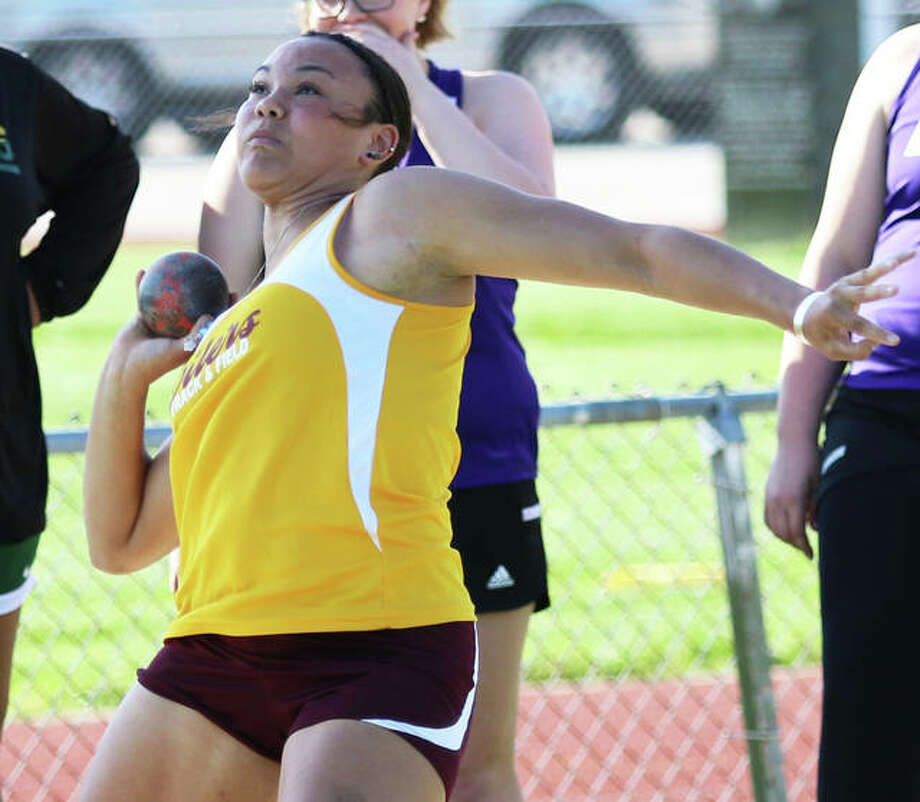 EA-WR's Jayden Ulrich advanced to the finals at the Class 2A state meet in both the shot put and discus on Friday at Eastern Illinois in Charleston. She enters Saturday in second place in both events. Photo: Greg Shashack / The Telegraph