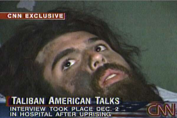 In this image from television broadcast Wednesday, Dec. 19, 2001, American Taliban fighter John Walker Lindh is seen during an interview soon after his capture. According to CNN, the interview took place Dec. 2, 2001. (AP Photos/CNN)