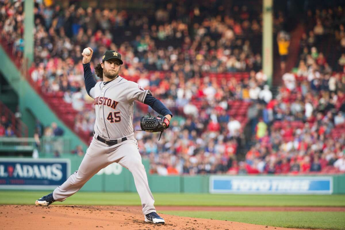 BOSTON, MA - MAY 17: Gerrit Cole #45 of the Houston Astros pitches in the first inning against the Boston Red Sox at Fenway Park on May 17, 2019 in Boston, Massachusetts. (Photo by Kathryn Riley/Getty Images)