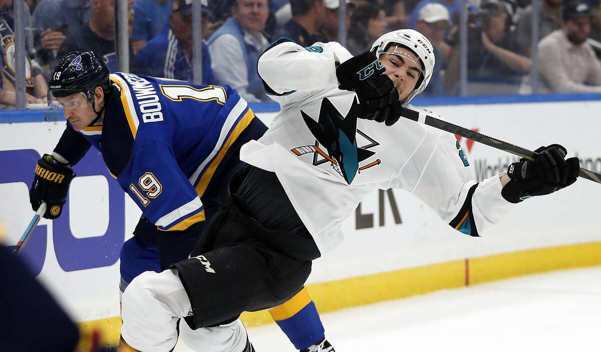 San Jose Sharks right wing Timo Meier, of Switzerland, right, falls as he collides with St. Louis Blues defenseman Jay Bouwmeester (19) during the second period in Game 4 of the NHL hockey Stanley Cup Western Conference final series Friday, May 17, 2019, in St. Louis. (AP Photo/Jeff Roberson)