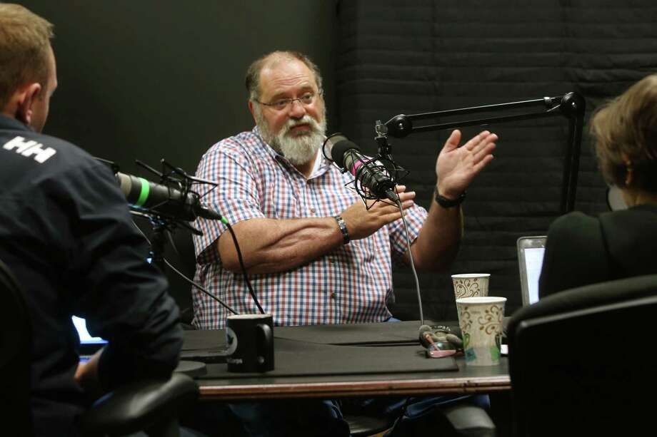 Santa Fe ISD police officer John Barnes, who was wounded during a school shooting there, is interviewed by St. John Barned-Smith for an episode of the Behind the Walls podcast, May 10, 2019. Photo: Scott Kingsley, Staff Photographer / Houston Chronicle