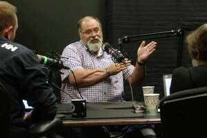 Santa Fe ISD police officer John Barnes, who was wounded during a school shooting there, is interviewed by St. John Barned-Smith for an episode of the Behind the Walls podcast, May 10, 2019.