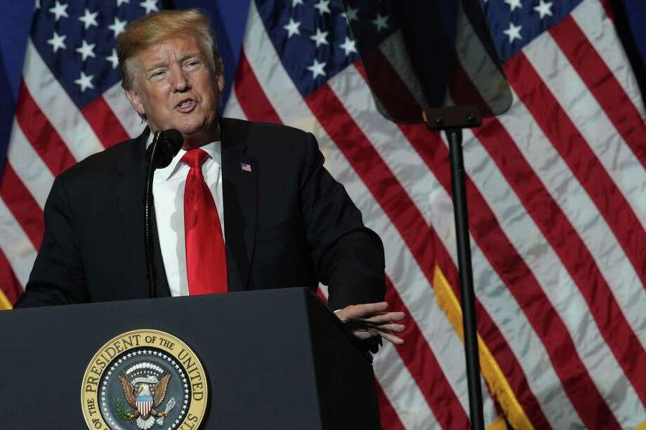 El presidente Donald Trump pronuncia un discurso durante las reuniones legislativas y expo comercial de la Asociación Nacional de Agentes Inmobiliarios en Washington, el viernes 17 de mayo de 2019. Photo: Alex Wong /Getty Images / 2019 Getty Images