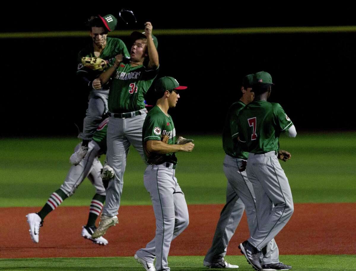 The Woodlands players react after defeating Klein 7-3 in in eighth innings during a Region II-6A quarterfinal high school baseball game at Grand Oaks High School, Friday, May 17, 2019, in Spring.