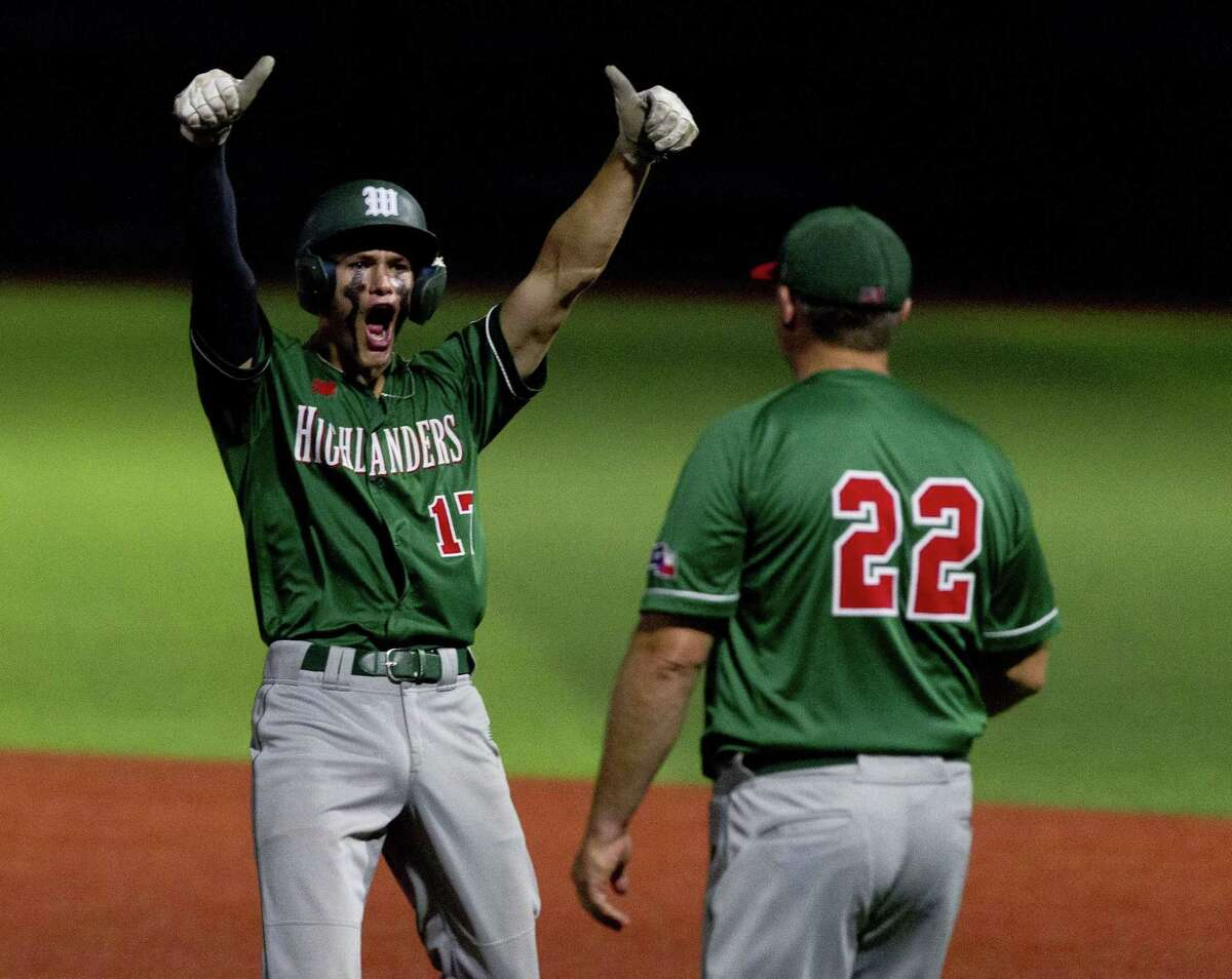 Dylan McDowell #17 of The Woodlands reacts after hitting an RBI single in the eighth inning of a Region II-6A quarterfinal high school baseball game at Grand Oaks High School, Friday, May 17, 2019, in Spring.