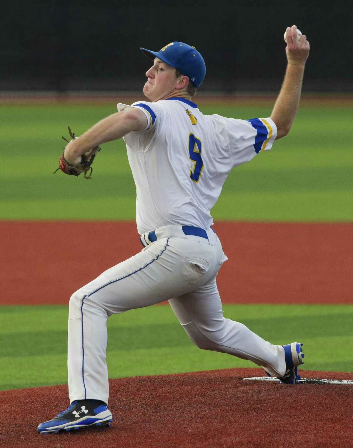 Klein starting pitcher Collin Little (9) throws in the first inning of a Region II-6A quarterfinal high school baseball game at Grand Oaks High School, Friday, May 17, 2019, in Spring.