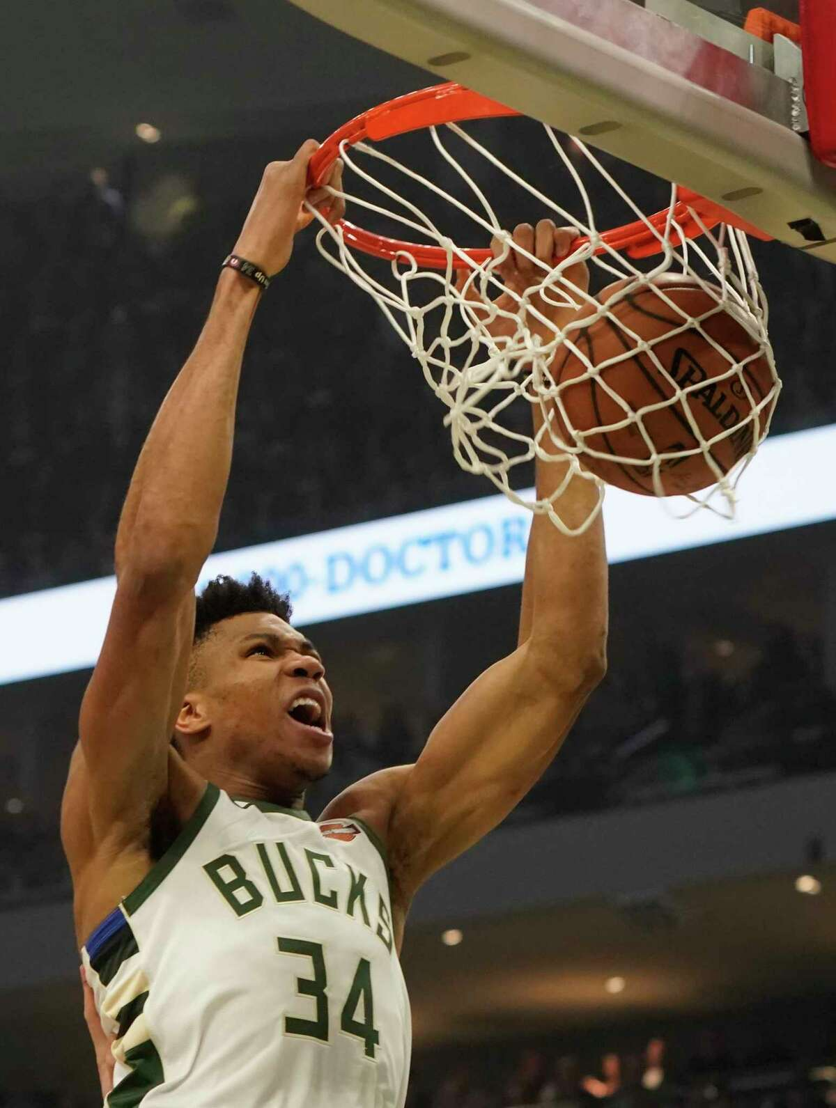 Milwaukee Bucks' Giannis Antetokounmpo dunksduring the first half of Game 2 of the NBA Eastern Conference basketball playoff finals against the Toronto Raptors Friday, May 17, 2019, in Milwaukee. (AP Photo/Morry Gash)