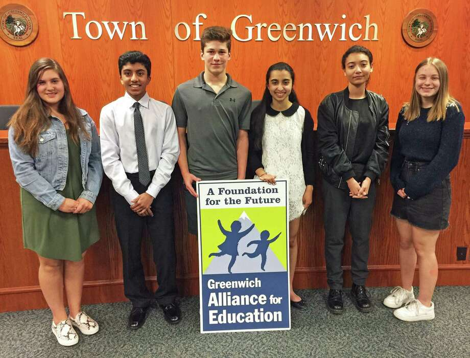 Winners in the the 2019 Alma Rutgers Defining Diversity Writing Contest, run by the Greenwich First Selectman's Diversity Advisory Committee, from left, Sophie Jaeger (third place), Rohan Subramaniam (first place), Jonathan Bergbaum (honorable mention), Noor Rekhi (honorable mention), Aaryanna Herrera (second place) and Sadie Kriegler (honorable mention). Photo: John Breunig / Hearst Connecticut Media