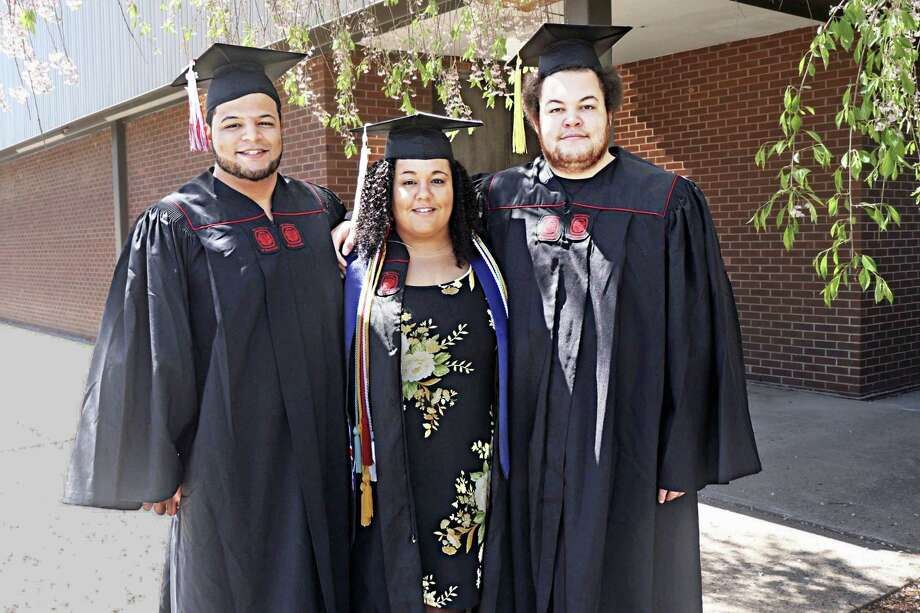 The 22-year-old Bonaparte triplets of Middletown, from left, Derek, Rachel and Kevin, will be graduating from the University of Hartford's College of Arts and Sciences Sunday. In a coincidence, May 19 is also their mother's birthday, further delighting the family. Photo: Contributed Photo