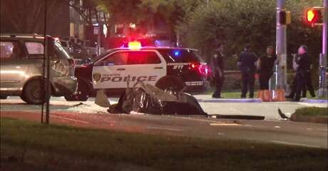 The driver of a red pickup truck died early Saturday after Houston police said he ran a red light at Beechnut and Gessner, striking two cars.