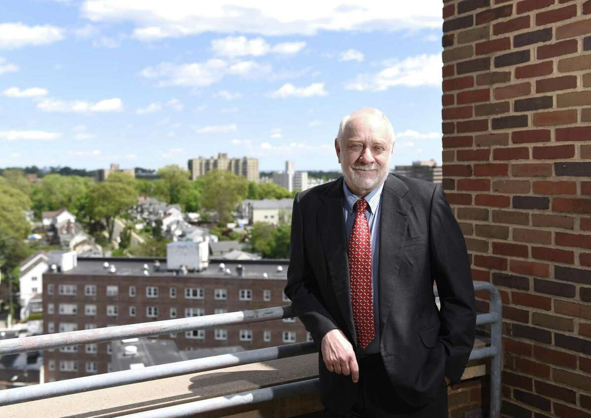 Public defender Howard Ehring on the rooftop of the state Superior Court in Stamford on Wednesday. Ehring is the longest serving public defender in Stamford and has worked a number of prominent cases over his 30-plus year career.