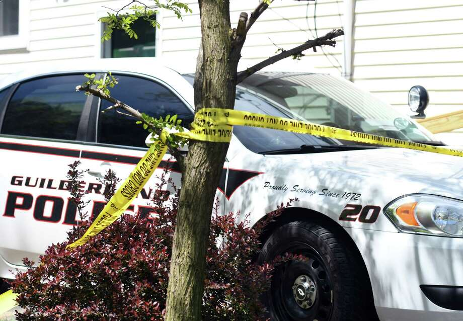 A Guilderland police car sits outside of the home where two people were found dead Friday on Saturday, May 18, 2019 off of Schoolhouse Road in Guilderland, NY. (Phoebe Sheehan/Times Union) Photo: Phoebe Sheehan, Albany Times Union / 20046982A