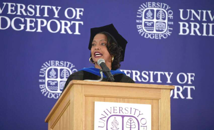 Jahana Hayes, U.S. Representative for the 5th District of Connecticut delivers the Commencement Address at the University of Bridgeport 2019 Undergraduate Commencement Ceremony in Marina Park, Bridgeport, Conn, Saturday morning, May 18, 2019. Hayes is a UB alumnus.