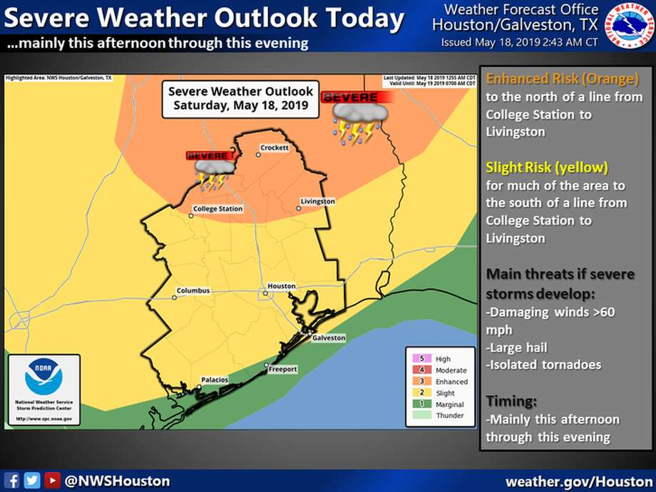 There is a risk of severe thunderstorm development today across a large part of Southeast Texas (greater risk north in orange and lower risk near the coast in green). Stay weather aware today. Photo: Handout/National Weather Service