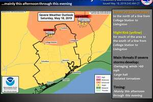 There is a risk of severe thunderstorm development today across a large part of Southeast Texas (greater risk north in orange and lower risk near the coast in green). Stay weather aware today.