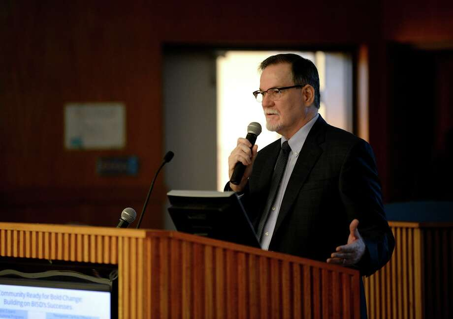 Superintendent John Frossard addresses the audience during a morning meeting for the Beaumont Independent School District. Photo taken Friday, 8/31/18 Photo: Guiseppe Barranco/The Enterprise, Photo Editor / Guiseppe Barranco ©