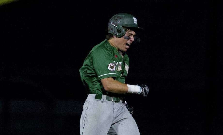 Casey Sunseri #3 of The Woodlands reacts after hitting an RBI double to break a 3-3 tie and spark a four-run eighth inning during a Region II-6A quarterfinal high school baseball game at Grand Oaks High School, Friday, May 17, 2019, in Spring. Photo: Jason Fochtman, Houston Chronicle / Staff Photographer / © 2019 Houston Chronicle