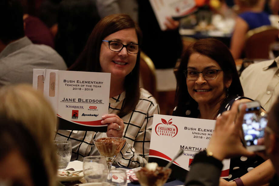 Bush Elementary teachers show off their awards during the Excellence in Education banquet May 16, 2019 at the Petroleum Club. James Durbin/Reporter-Telegram Photo: James Durbin / Midland Reporter-Telegram / ? 2019 All Rights Reserved