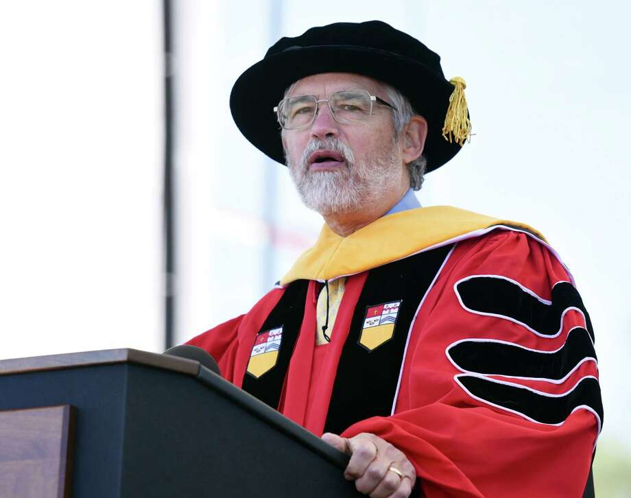 John P. Holdren gives his speech after receiving his honorary degree during the Rensselaer Polytechnic Institute 213th Commencement on Saturday, May 18, 2019 at RPI's East Athletic Campus in Troy, NY. (Phoebe Sheehan/Times Union) Photo: Phoebe Sheehan, Albany Times Union / 40046971A