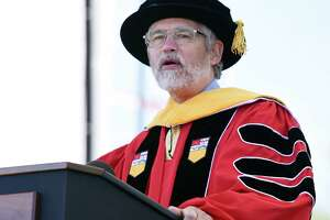 John P. Holdren gives his speech after receiving his honorary degree during the Rensselaer Polytechnic Institute 213th Commencement on Saturday, May 18, 2019 at RPI's East Athletic Campus in Troy, NY. (Phoebe Sheehan/Times Union)
