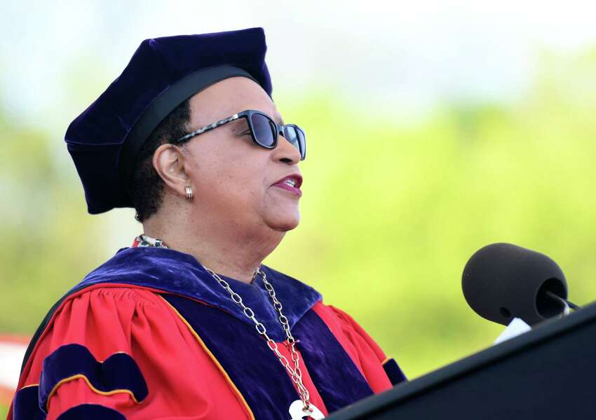 RPI President Shirley Ann Jackson gives a speech during the Rensselaer Polytechnic Institute 213th Commencement on Saturday, May 18, 2019 at RPI's East Athletic Campus in Troy, NY. (Phoebe Sheehan/Times Union)