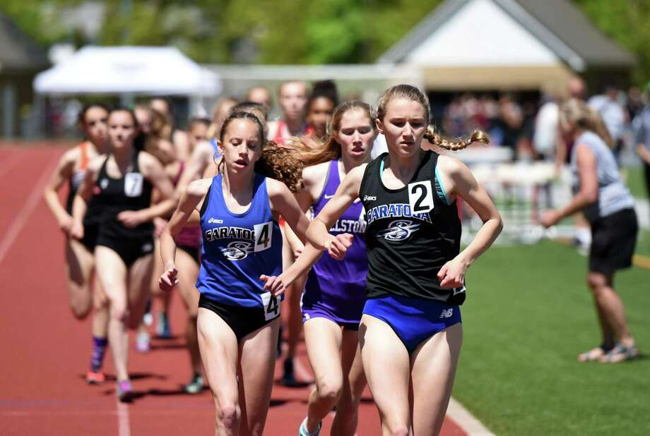 The girls 3000-meter run takes place during the Eddy Meet Track and Field championships on Saturday, May 18, 2019 at Schenectady High School in Schenectady, NY. (Phoebe Sheehan/Times Union) Photo: Phoebe Sheehan, Albany Times Union / 40046975A
