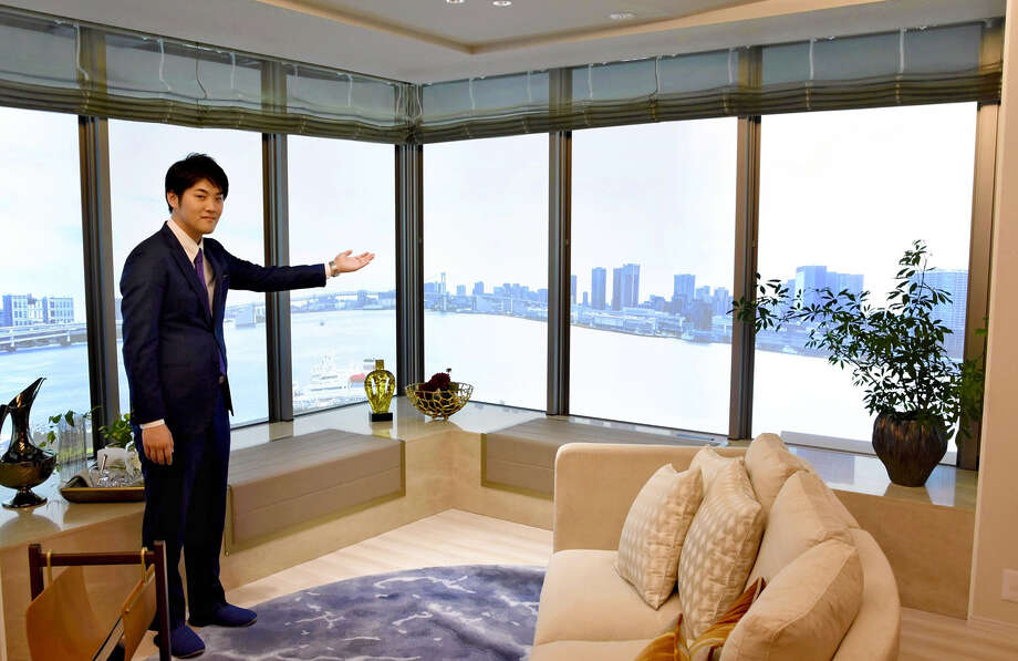 A model room for a Harumi Flag apartment in Chuo Ward, Tokyo. The view from the windows is generated by virtual reality technology. Photo: Japan News-Yomiuri Photo / Japan News-Yomiuri