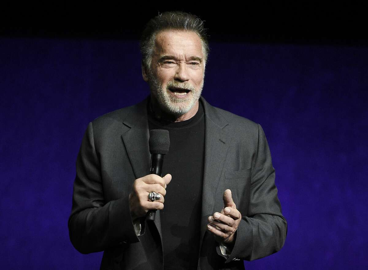 """Arnold Schwarzenegger, a cast member in the film """"Terminator: Dark Fate,"""" discusses the film Thursday, April 4, 2019, during the Paramount Pictures presentation at CinemaCon 2019."""