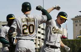 Oakland Athletics' Nick Hundley, right, is congratulated by Mark Canha (20) after a two-run home run during the third inning of a baseball game against the Detroit Tigers, Saturday, May 18, 2019, in Detroit. (AP Photo/Carlos Osorio)