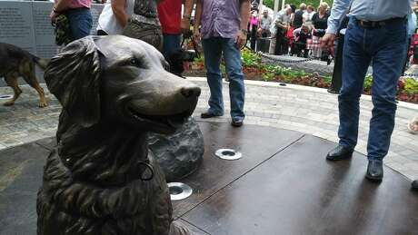 The last 9/11 service dog Bretagne's bronze statue, built in her honor in Cy-Champ Park.