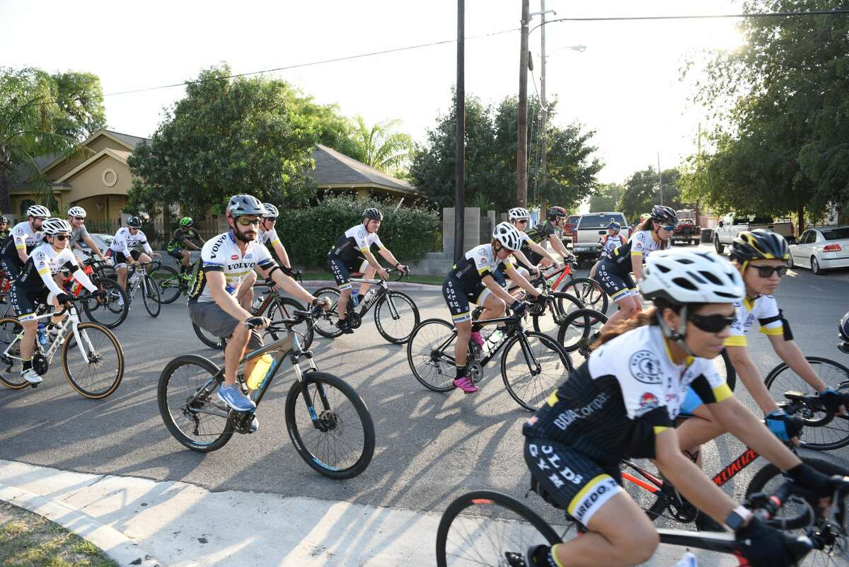 Members of the Laredo cycling community honor cyclists killed in public roadways during the Ride of Silence in Downtown Laredo, Wednesday, May 15, 2019.