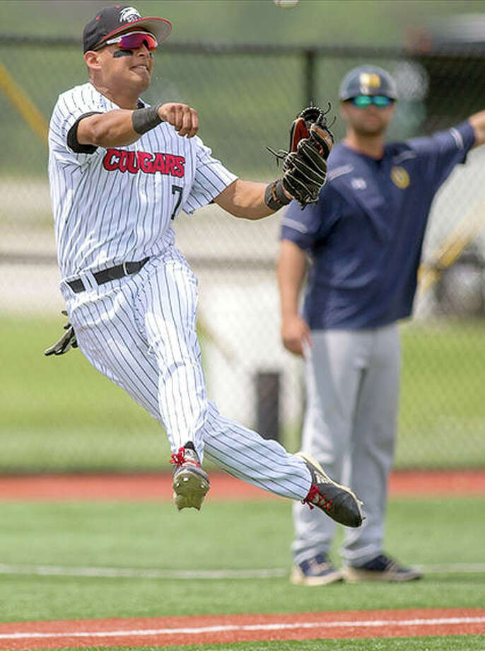 SIUE third baseman Raul Elguezabal makes a play on a ground ball during Saturday's game against Murray State. The Cougars won 11-9. Photo: SIUE Athletics