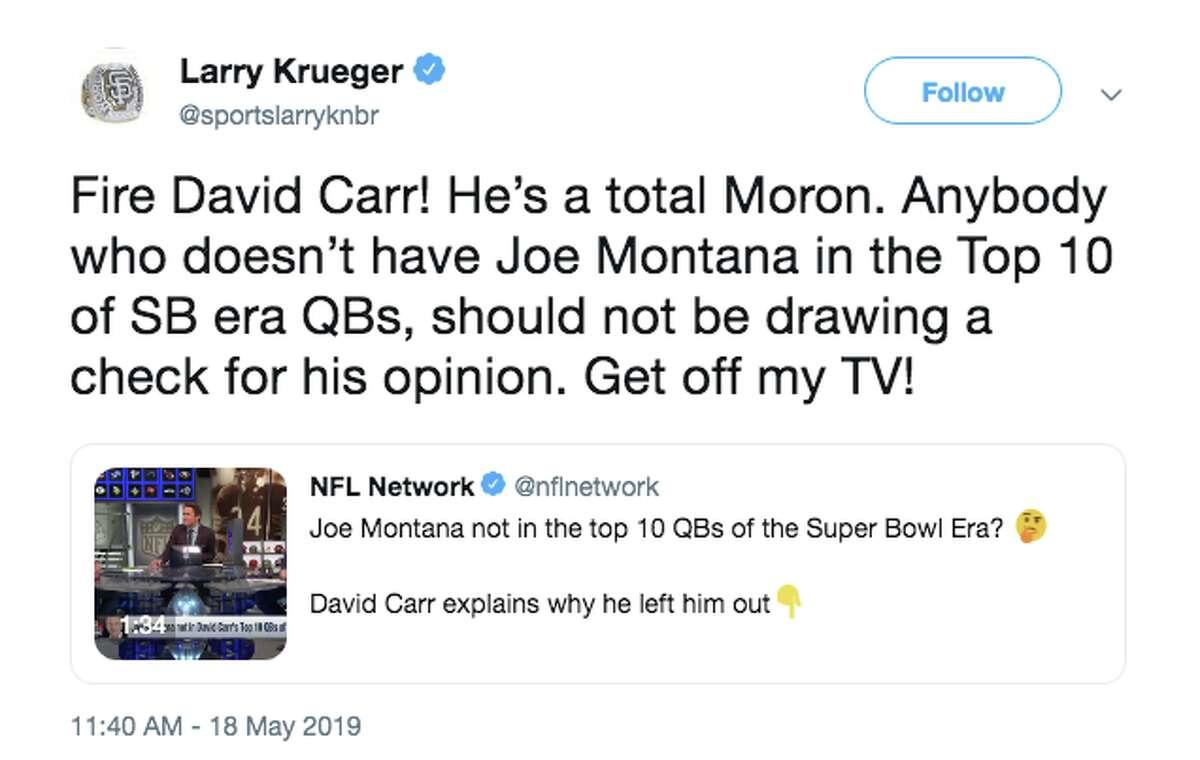 49ers fans were less than pleased after David Carr left Joe Montana off a list of the 10 best quarterbacks of the Super Bowl era.