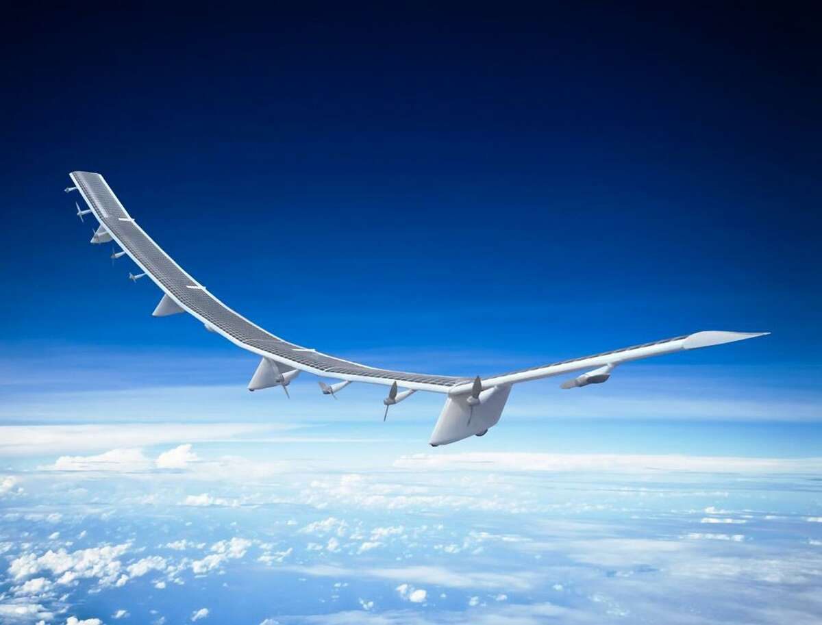 A rendering shows the Hawk30, a drone developed by a joint venture of AeroVironment and SoftBank. It has a wingspan of 256 feet and 10 propellers, and can provide internet coverage for a radius of 124 miles.