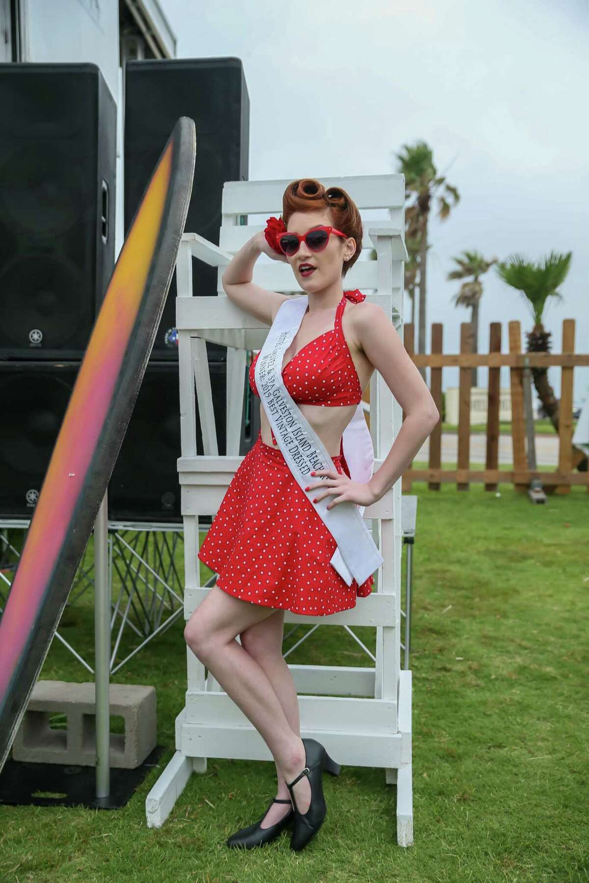 Stephanie Rivera, winner of the 2019 Best Vintage Dressed competition during the Galveston Island Beach Revue, May 18, 2019.