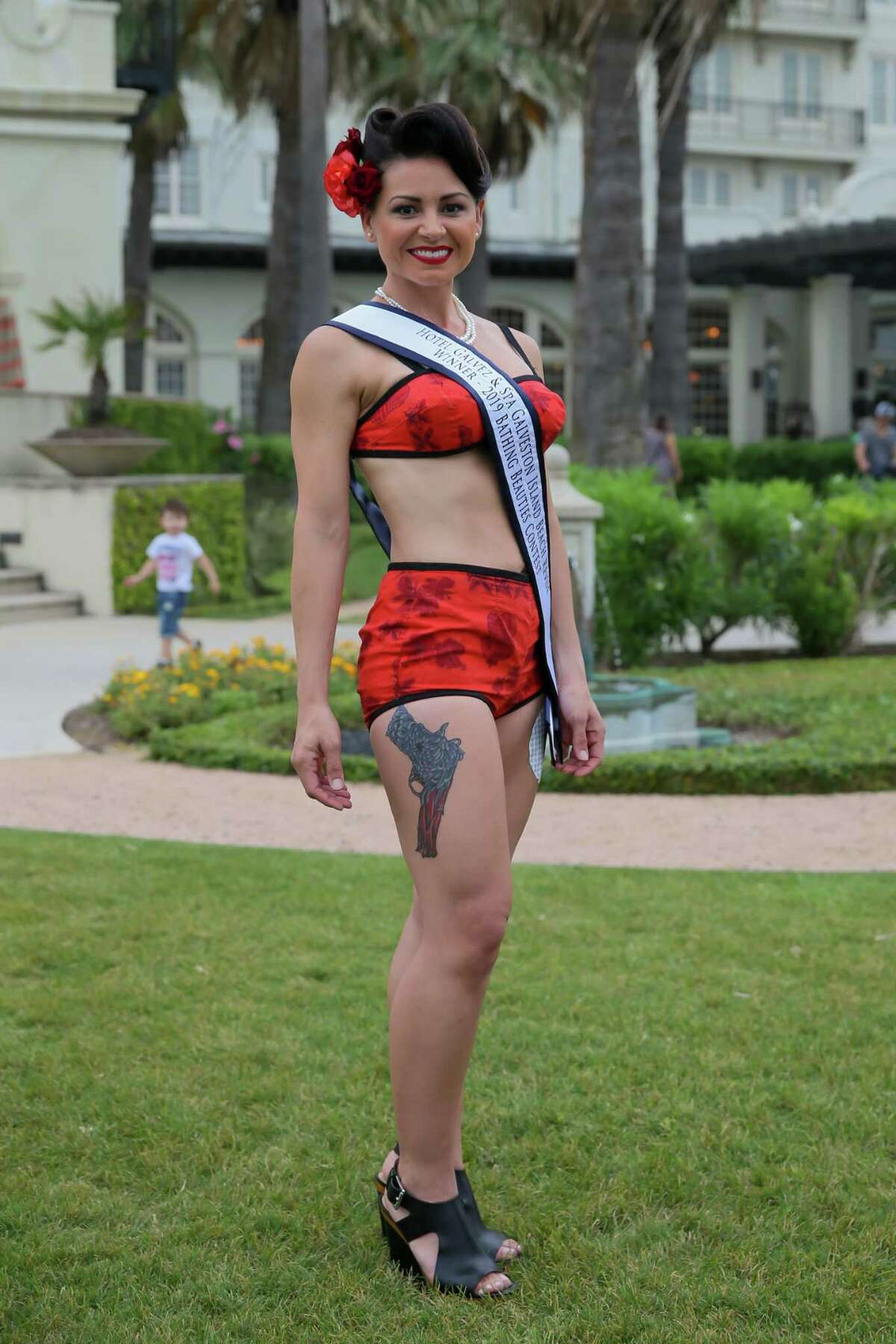 Jennifer Vera, first-place winner at the 2019 Bathing Beauties Contest at the Galveston Island Beach Revue, May 18, 2019.