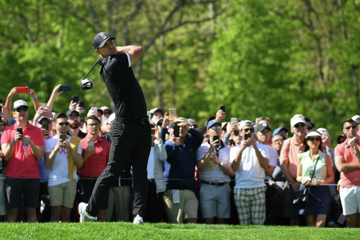 FARMINGDALE, NEW YORK - MAY 18: Brooks Koepka of the United States plays a shot from the sixth tee during the second round of the 2019 PGA Championship at the Bethpage Black course on May 18, 2019 in Farmingdale, New York. (Photo by Ross Kinnaird/Getty Images)