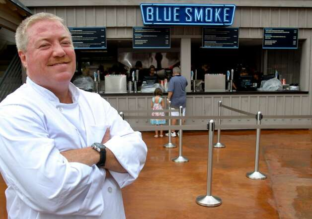 Kenny Callaghan, executive chef and partner of Blue Smoke, says the new restaurant at Saratoga Race Course, and its adjoining sibling eatery, Shake Shack, are prepared to feed thousands daily. (Cindy Schultz / Times Union) Photo: CINDY SCHULTZ / 00009610A