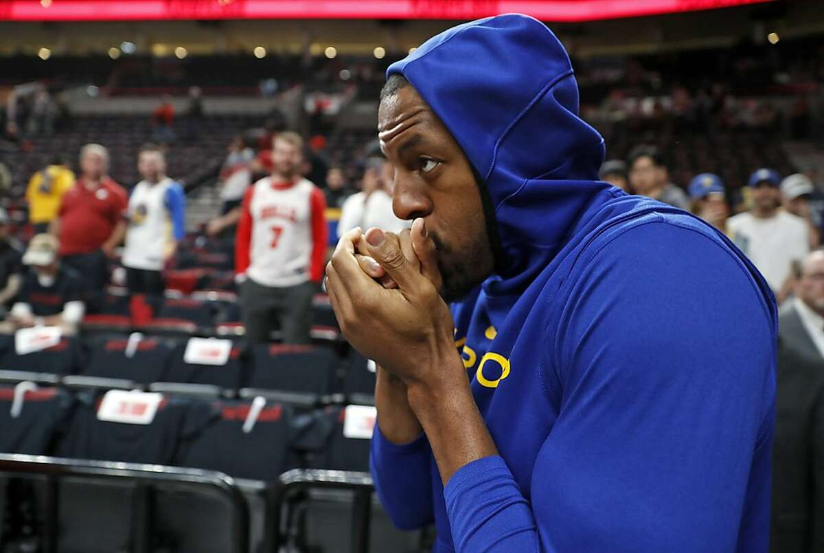 Golden State Warriors' Andre Iguodala heads out to warm up before playing Portland Trail Blazers in Game 3 of the NBA Western Conference Finals at Moda Center in Portland, Oregon on Saturday, May 18, 2019.