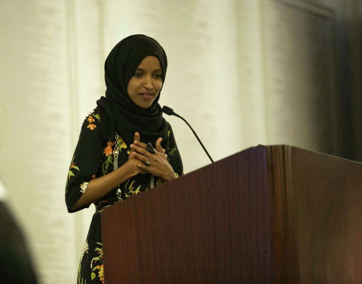 Congresswoman Ilhan Omar addresses the crowd as the keynote speaker during the 4th Annual Austin City Wide Iftar at the DoubleTree by Hilton on May 18, 2019 in Austin, Texas.
