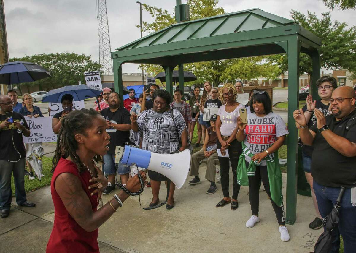 Fatima Mann, founder and director of the Community Advocacy & Healing Project, denounces the actions of Baytown Police officer Juan Delacruz, who fatally shot Pamela Turner during a confrontation at The Brixton Apartments Monday night, during a demonstration by the Black Lives Matter Houston group outside the Baytown Police Department Saturday, May 18, 2019, in Baytown, Texas.