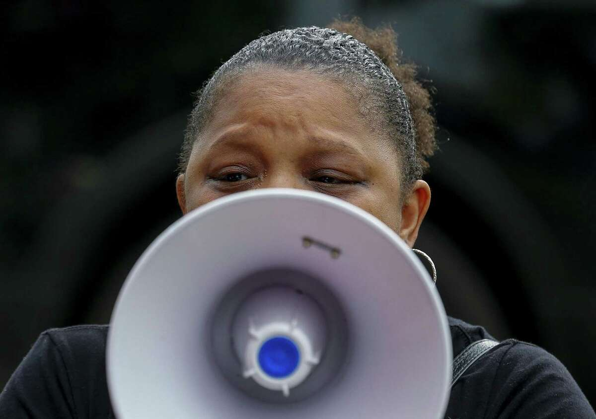 Black Lives Matter organizer Kandice Webber denounces the actions of Baytown Police officer Juan Delacruz, who fatally shot Pamela Turner during a confrontation at The Brixton Apartments Monday night, during a demonstration outside the Baytown Police Department Saturday, May 18, 2019, in Baytown, Texas.