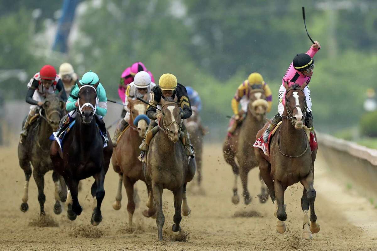 BALTIMORE, MARYLAND - MAY 18: Jockey Tyler Gaffalione celebrates after crossing the finish line on War of Will #8 to win the 144th Running of the Preakness Stakes at Pimlico Race Course on May 18, 2019 in Baltimore, Maryland.
